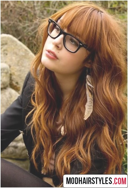 striking auburn wavy long hair