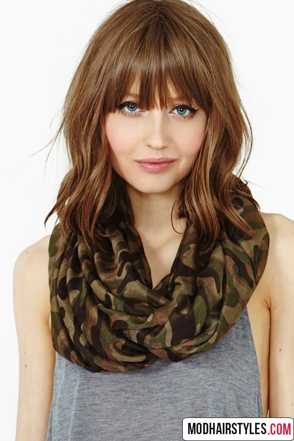 Medium Length Haircuts With Bangs picture gallery