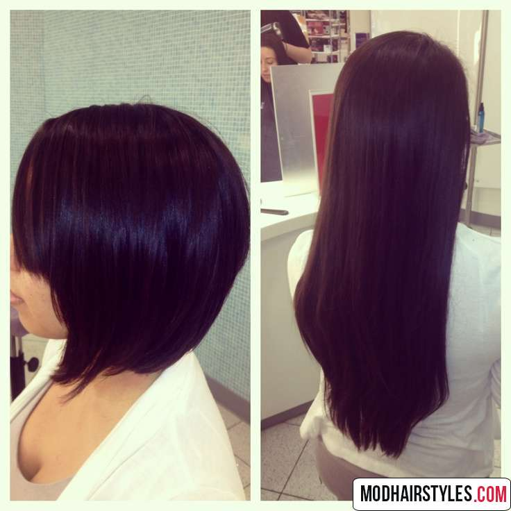 Long to bob haircut example for thick hair