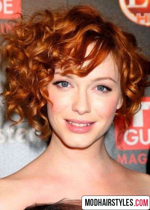 Asymmetrical curly bob haircut